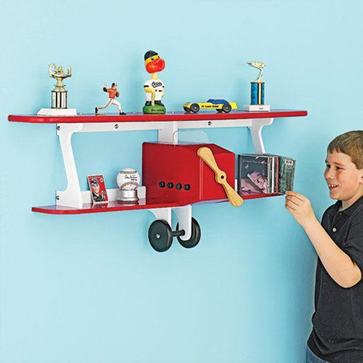 View a Larger Image of Downloadable Woodworking Project Plan to Build Plane-fun Kids Shelf