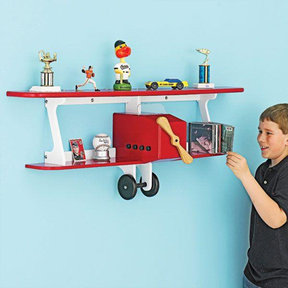 Downloadable Woodworking Project Plan to Build Plane-fun Kids Shelf