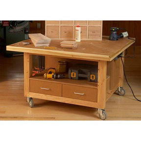 Downloadable Woodworking Project Plan to Build Reliably Rugged Assembly Table