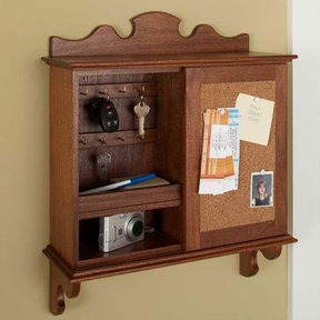Downloadable Woodworking Project Plan to Build Sliding-Door Hideaway Wall Organizer