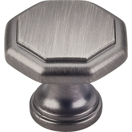 "View a Larger Image of Drake Flat Top Geometric Knob, 1-3/16"" Dia.,  Brushed Pewter"