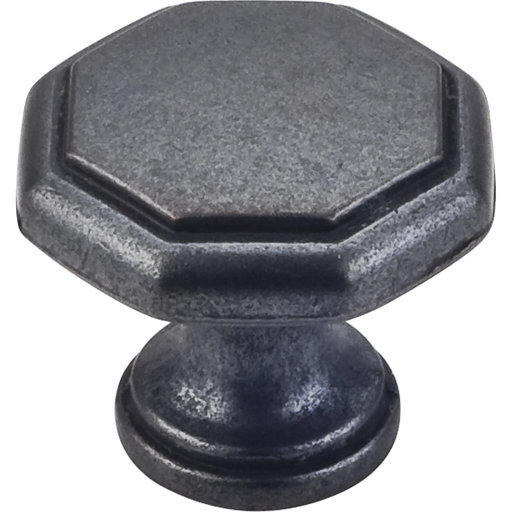 "View a Larger Image of Drake Flat Top Geometric Knob, 1-3/16"" Dia.,  Gun Metal"