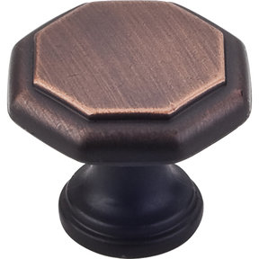 "Drake Flat Top Geometric Knob, 1-3/16"" Dia.,  Brushed Oil Rubbed Bronze"