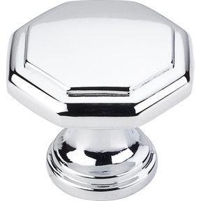 "Drake Flat Top Geometric Knob, 1-3/16"" Dia.,  Polished Chrome"