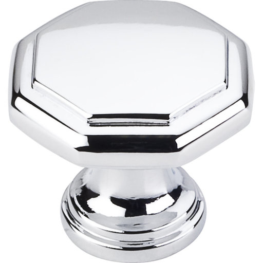 "View a Larger Image of Drake Flat Top Geometric Knob, 1-3/16"" Dia.,  Polished Chrome"