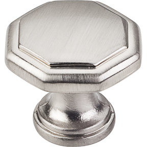 "Drake Flat Top Geometric Knob, 1-3/16"" Dia.,  Satin Nickel"