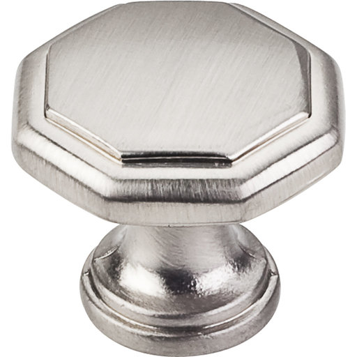 "View a Larger Image of Drake Flat Top Geometric Knob, 1-3/16"" Dia.,  Satin Nickel"