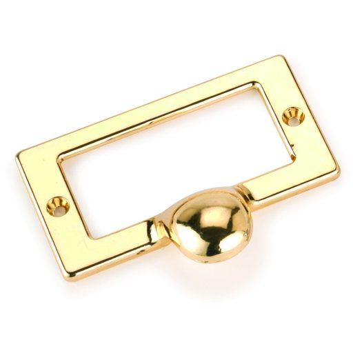 View a Larger Image of Drawer Pull with Card Holder, Polished Brass Finish