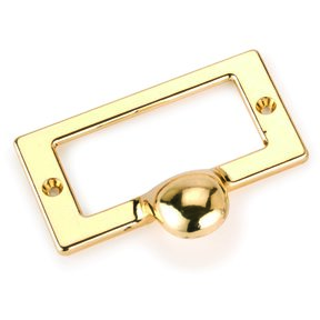 Drawer Pull with Card Holder, Polished Brass Finish