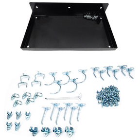 "DuraHook® 12""W x 6""D Locking Steel Pegboard Shelf with 36 pc Durahook® Assortment - Black"