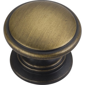 "Durham Knob, 1-1/4"" Dia.,  Antique Brushed Satin Brass"