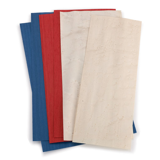 "View a Larger Image of 4-1/2"" to 6-1/2"" Width 3 sq ft Pack Red, White & Blue Dyed Wood Veneer"