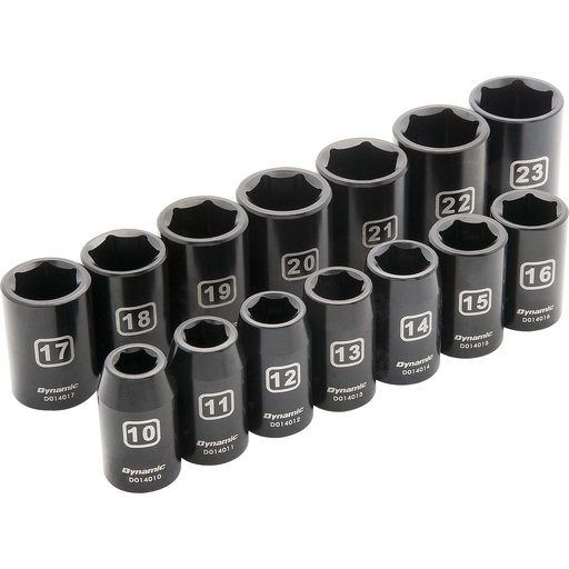 "View a Larger Image of Tools 1/2"" Drive 14pc 6-Point Standard Impact Metric Socket Set, 10mm - 23mm"