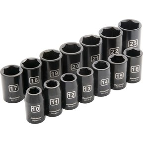 "Tools 1/2"" Drive 14pc 6-Point Standard Impact Metric Socket Set, 10mm - 23mm"