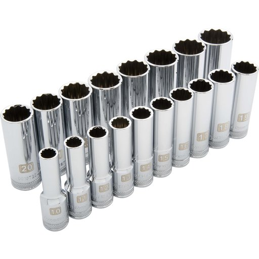 "View a Larger Image of Tools 1/2"" Drive 19pc 12-Point Standard Metric Socket Set, 10mm - 28mm"