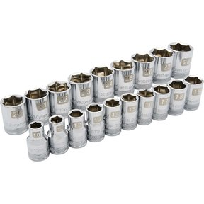 "Tools 1/2"" Drive 19pc 6-Point Standard Metric Socket Set, 10mm - 28mm"