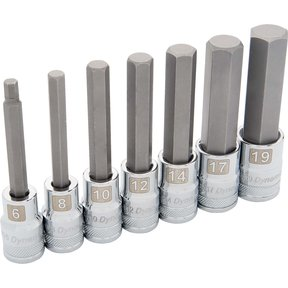 "Tools 1/2"" Drive 7pc Metric Long Hex Socket Set, 6mm - 19mm"