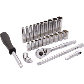 "Tools 1/4"" Drive 25pc 6-Point SAE Standard/Deep Socket Set, 3/16"" - 9/16"""