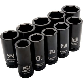 "Tools 3/4"" Drive 10pc 6-Point Deep Impact SAE Socket Set, 15/16"" - 1-5/8"""