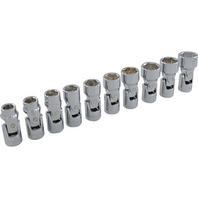 "Tools 3/8"" Drive 10pc 6-Point Metric Universal Joint Socket Set, 10mm - 19mm"