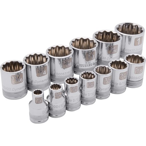 "View a Larger Image of Tools 3/8"" Drive 13pc 12-Point Standard SAE Socket Set, 1/4"" - 1"""