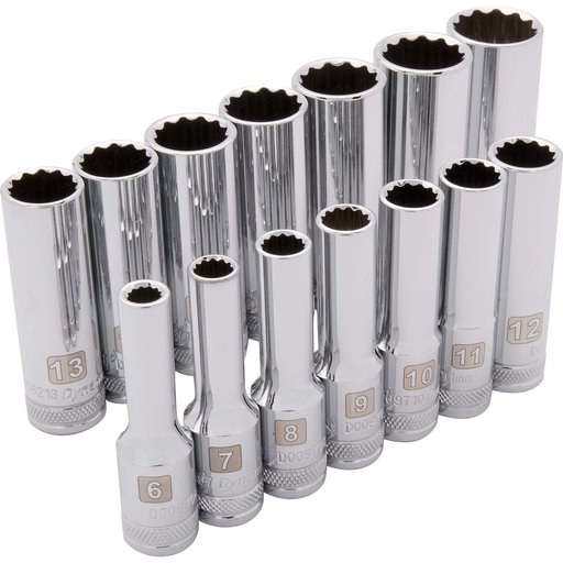 "View a Larger Image of Tools 3/8"" Drive 14pc 12-Point Deep Metric Socket Set, 6mm - 19mm"
