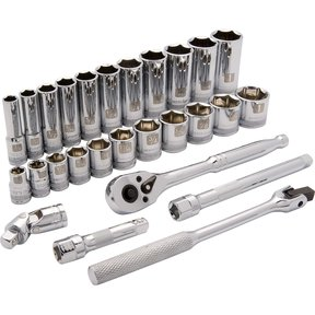 "Tools 3/8"" Drive 27pc 6-Point Standard/Deep SAE Socket Set, 3/8"" - 1"""