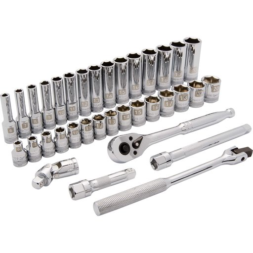 "View a Larger Image of Tools 3/8"" Drive 35pc 6-Point Standard/Deep Metric Socket Set, 6mm - 20mm"