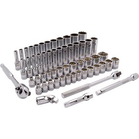 "Tools 3/8"" Drive 57pc 12-Point Standard/Deep SAE/Metric Socket Set, 1/4"" - 1"", 6mm - 19mm"