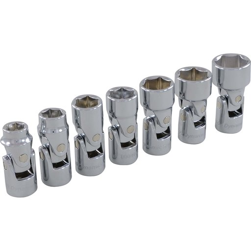 "View a Larger Image of Tools 3/8"" Drive 7pc 6-Point SAE Universal Joint Socket Set, 3/8"" - 3/4"""