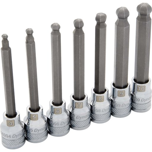 "View a Larger Image of Tools 3/8"" Drive 7pc Metric Long Ball Nose Hex Socket Set, 4mm - 10mm"
