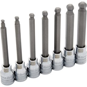 "Tools 3/8"" Drive 7pc Metric Long Ball Nose Hex Socket Set, 4mm - 10mm"