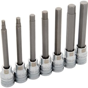 "Tools 3/8"" Drive 7pc Metric Long Hex Socket Set, 4mm - 10mm"