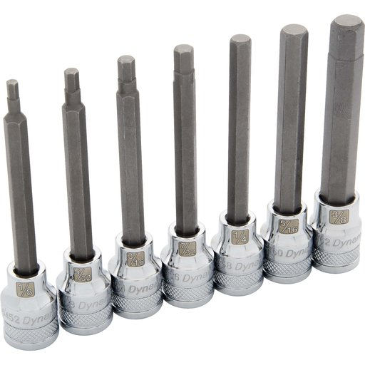"View a Larger Image of Tools 3/8"" Drive 7pc SAE Long Hex Socket Set, 1/8"" - 3/8"""