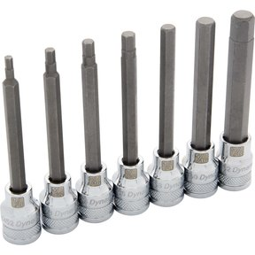 "Tools 3/8"" Drive 7pc SAE Long Hex Socket Set, 1/8"" - 3/8"""