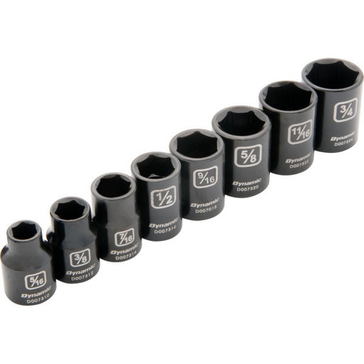 "View a Larger Image of Tools 3/8"" Drive 8pc 6-Point SAE Standard Impact Socket Set, 5/16"" - 3/4"""