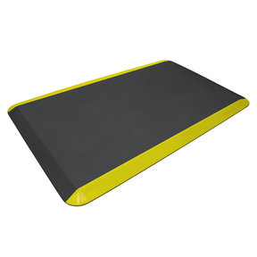"Eco-Pro Commercial Mat, Black with Yellow Safety Stripe, 20"" x 32"""