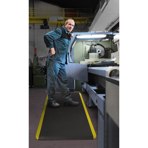 """View a Larger Image of Eco-Pro Commercial Mat, Black with Yellow Safety Stripe, 20"""" x 32"""""""