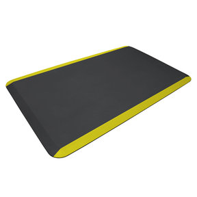 "Eco-Pro Commercial Mat, Black with Yellow Safety Stripe, 24"" x 36"""