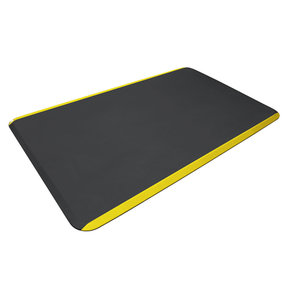 "Eco-Pro Commercial Mat, Black with Yellow Safety Stripe, 36"" x 60"""