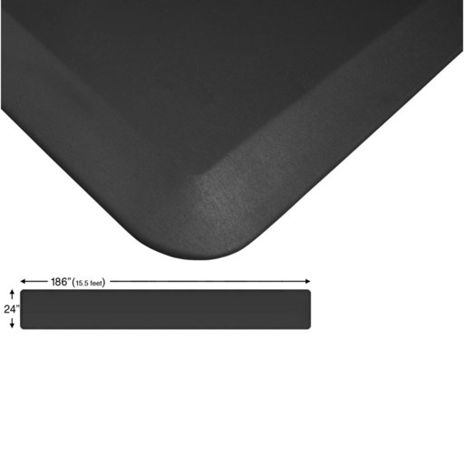 "View a Larger Image of Eco-Pro Continuous Comfort Mat, Black, 24"" x 186"""