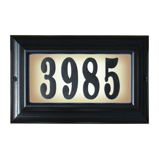 """View a Larger Image of Edgewood Large """"Do it yourself kit"""" Lighted Address Plaque in Black Frame Color"""