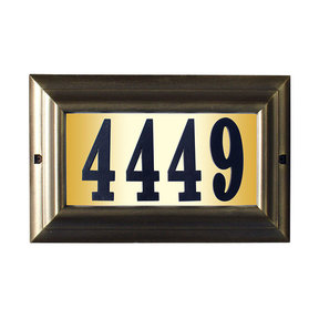 "Edgewood Large ""Do it yourself kit"" Lighted Address Plaque with LED LIGHTS in French Bronze Frame Color"