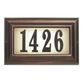 Edgewood Large Lighted Address Plaque in Antique Copper Frame Color with LED Bulbs