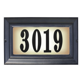 Edgewood Large Lighted Address Plaque in Black Frame Color