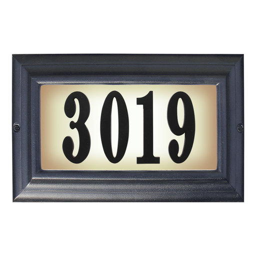 View a Larger Image of Edgewood Large Lighted Address Plaque in Black Frame Color with LED Bulbs