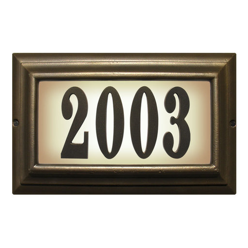 View a Larger Image of Edgewood Large Lighted Address Plaque in French Bronze Frame Color