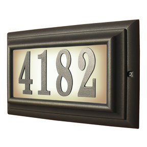 Edgewood Large Lighted Address Plaque in Oil Rub Bronze Frame Color with LED Bulbs