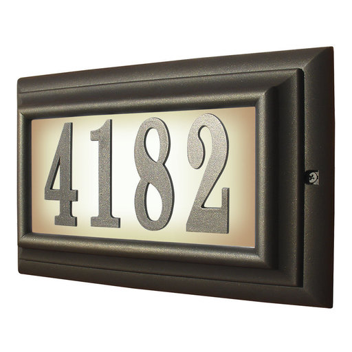 View a Larger Image of Edgewood Large Lighted Address Plaque in Oil Rub Bronze Frame Color with LED Bulbs