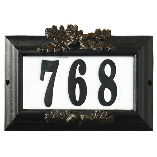 "View a Larger Image of Edgewood ""Misty Oak"" Lighted Address Plaque in Black with Go"